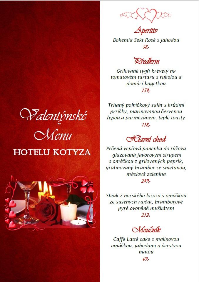 Valentýnské menu 2019 - Hotel Kotyza